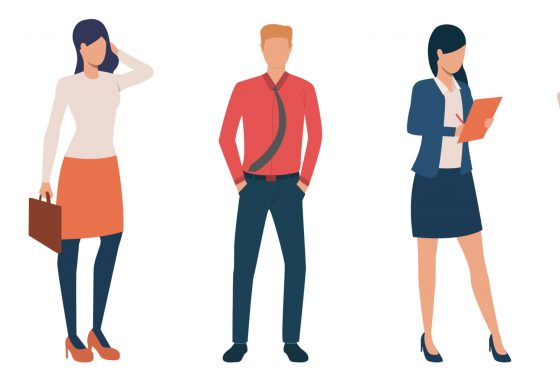 Group of young male and female entrepreneurs. Set of business people with documents and devices. Vector illustration can be used for presentation, commercial, article